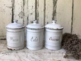 3 Franse wit emaillen voorraadbussen -  Café Sucre Chicorée - VERKOCHT/SOLD