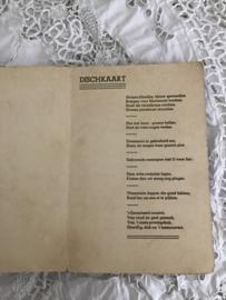 Oude Belgische spijskaart uit 1943 - menukaart - dischkaart.