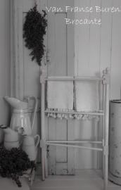 Oud brocante 2delig wit Frans handdoekenrek - SOLD*