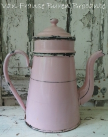 roze emaillen koffiepot / koffiekan - SOLD*