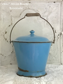 Oude Franse blauw emaillen dekselemmer - emmer met deksel