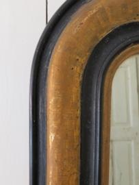 Franse spiegel   met goudkleurig streepmotief - VERKOCHT/SOLD