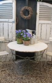 grote oude witte Franse ronde tuintafel inklapbaar - SOLD