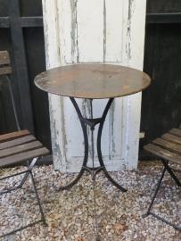 oud Frans zwart rond tuintafeltje - tuintafel - SOLD*