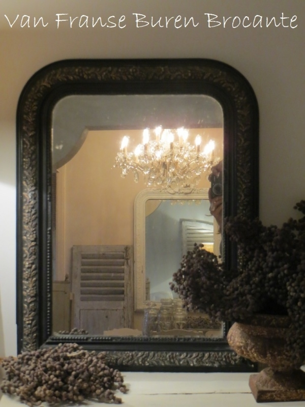Antieke Brocante Spiegel.Antieke Zwarte Franse Spiegel Met Goudkleurige Florale Rand