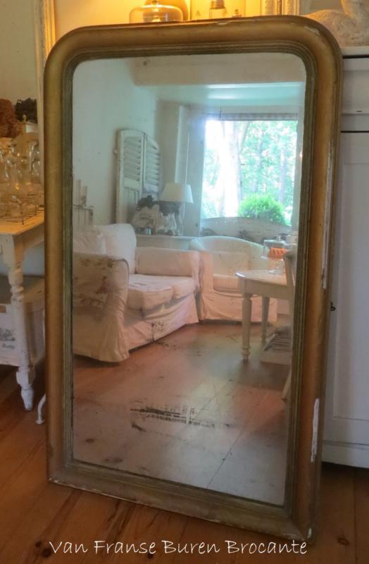 Brocante Zilveren Spiegel.Grote Franse Goudkleurige Biedermeier Spiegel Met Mooi