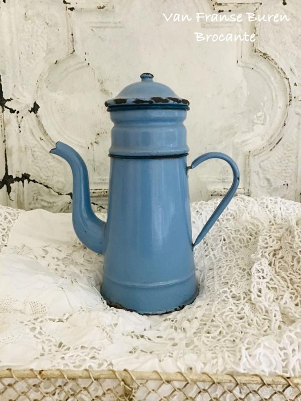 Oud Frans Blauw emaillen koffiekan met filter