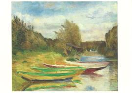Boten en hut aan de oever van de Seine, Gustave Caillebotte