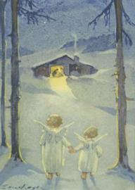 Twee engelen op weg naar de kribbe, Erica von Kager