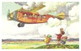 Kinderen zwaaien vliegtuig uit