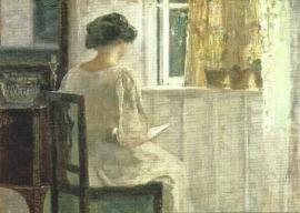 Lezend meisje in zondoorstroomde kamer, Carl Holsoe