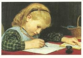 Schrijvend meisje, Albert Anker