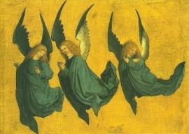 Drie zwevende engelen, Meister des Hausbuchs
