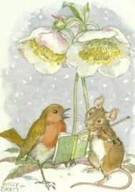 Roodborstje en muis onder kerstroos, Molly Brett