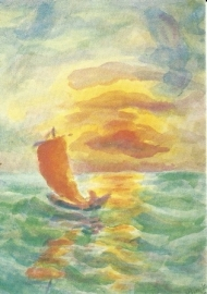 Zonsondergang bij een meer, Hilde Boos