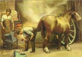 Smid beslaat paard