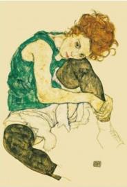 Zittende vrouw met naar zich toegetrokken been, Egon Schiele