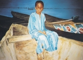Jongen in piroque aan Nigeroever, Marjan van Zeyl