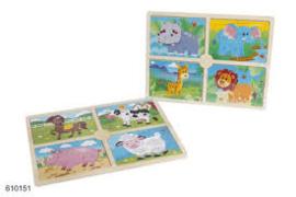 Houten puzzel boerderij  (4 puzzels in 1)