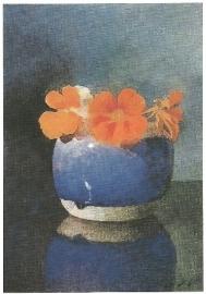 Oostindische kers in blauwe gemberpot, Jan Voerman