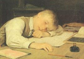 Jongen ingeslapen boven schoolboek, Albert Anker