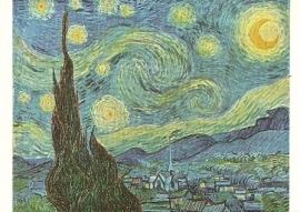 Sterrennacht met cypressen en dorp, Vincent van Gogh