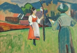 Gabriele Münter bij het schilderen, Wassily Kandinsky
