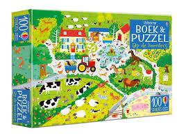 Boek en Puzzel, Op de boerderij ( 100 st. + boek met zoekplaten)