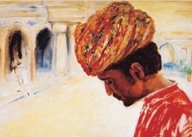 Man in Samode Haveli paleis, Marjan van Zeyl