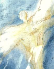 Engel in blauw, pastel, Janneke Rosenbrand
