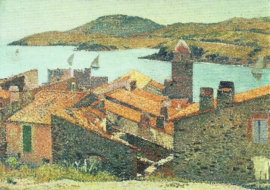 Rode daken in Collioure, Henri Martin