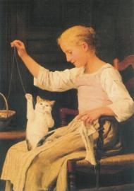 Meisje met kat, Albert Anker