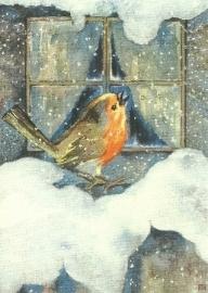 Roodborstje in de sneeuw, Mili Weber