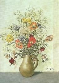 Vaas met bloemen, T.L. Foujita