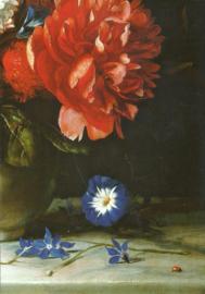 Bloemen in een witte stenen vaas, Dirck de Bray