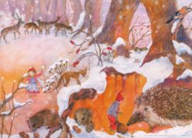 Dieren in de winter, Daniela Drescher DIN A3