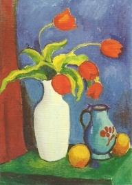 Rode tulpen in witte vaas, August Macke