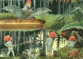 Kabouterkinderen op vleermuis, Elsa Beskow