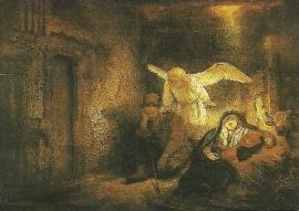 Engel verschijnt aan Jozef in een droom, Rembrandt