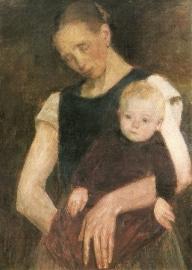 Vermoeide heideboerin met kind, Fritz Mackensen