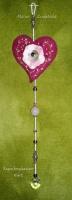 Regenboog hanger Hart  met Swarovski kristal en Rozenkwarts (lengte 30cm) (zelfmaakpakketje)