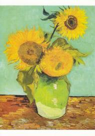 Drie zonnebloemen in een vaas, Vincent van Gogh