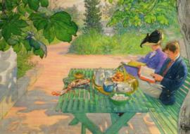 Lezen tijdens vakantie, Carl Larsson