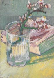 Bloeiende amandeltwijg in glas met boek, Vincent van Gogh, dubbele kaart