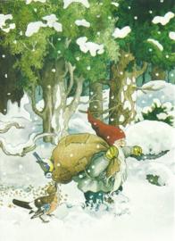 Dwerg met vogelvoer in de sneeuw, Inge Löök