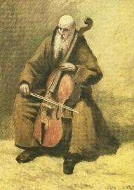 Cello spelende monnik, Camille Corot