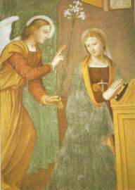Verkondiging, 16de eeuws fresco