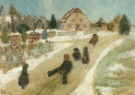 Winterlandschap met sleetje rijdende kinderen, Paula Modersohn-Becker