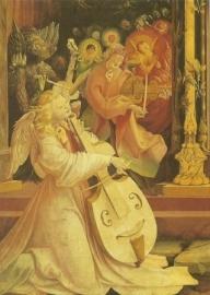 Gamba spelende engel, detail Isenheimer Altaar