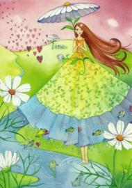 Vrouw met bloemenparaplu en harten, Kristiana Heinemann